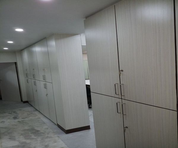 file cabinet cum partition in small office