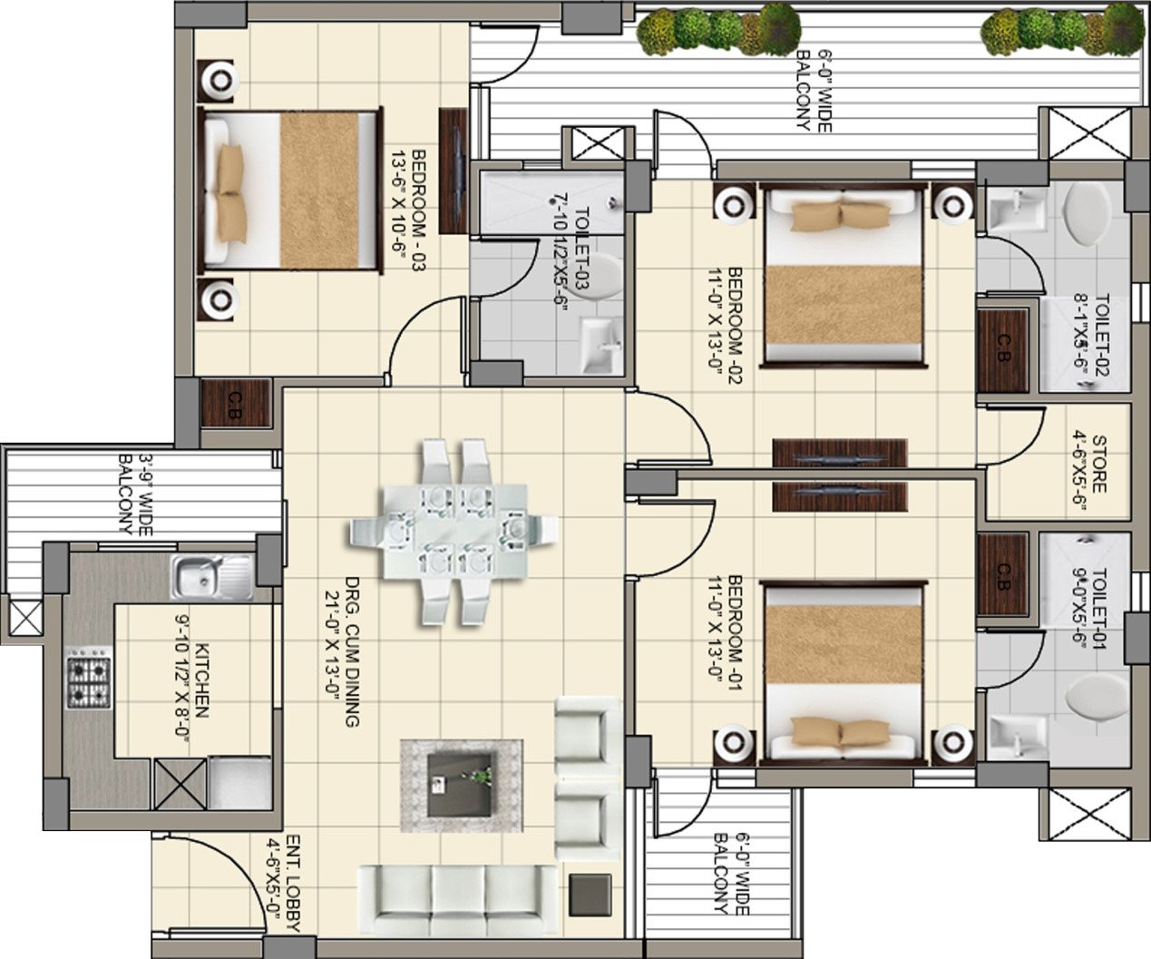 interior design for 3 bhk apartment in kolkata